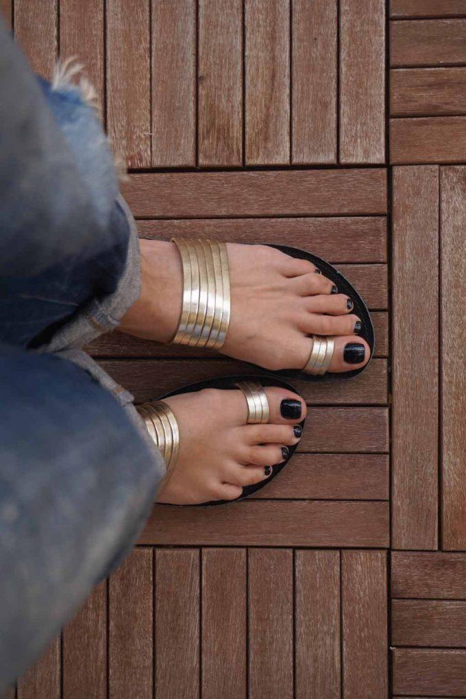Papuci de dama din piele naturala FUNKY MOON, auriu
