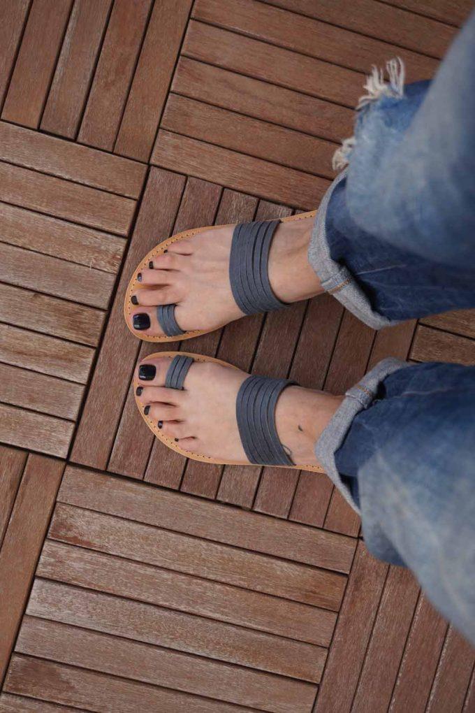 Papuci dama piele naturala FUNKY MOON, gri