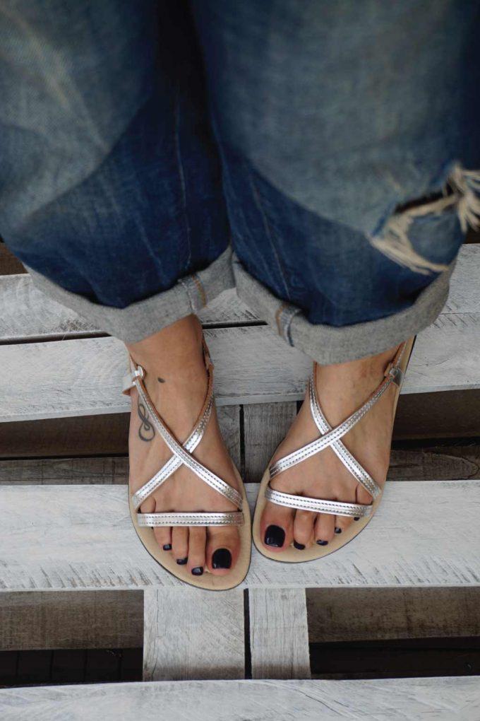 Sandale argintii piele naturala FUNKY GIRL