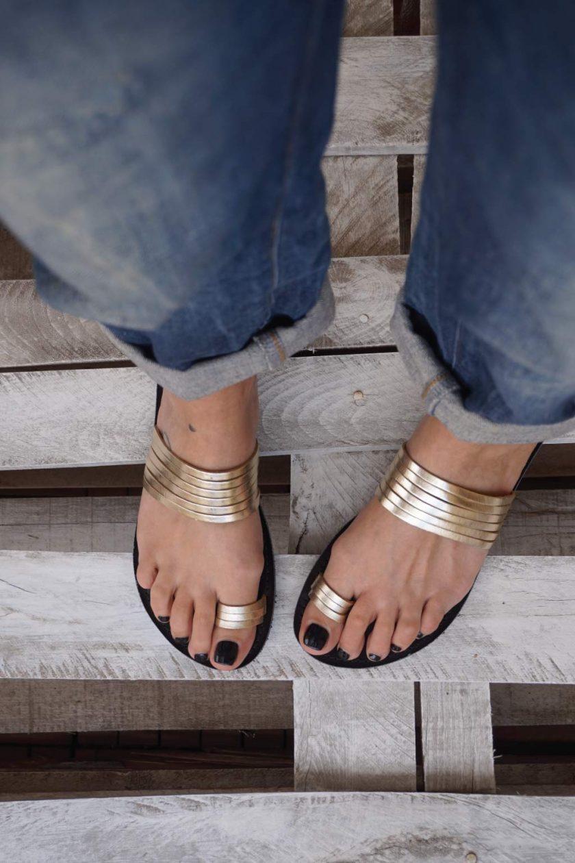 Papuci aurii piele naturala FUNKY MOON