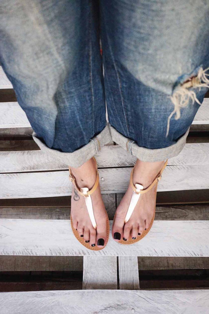 Sandale dama FUNKY ALLNUDE bronz - crem | FUNKYFAIN