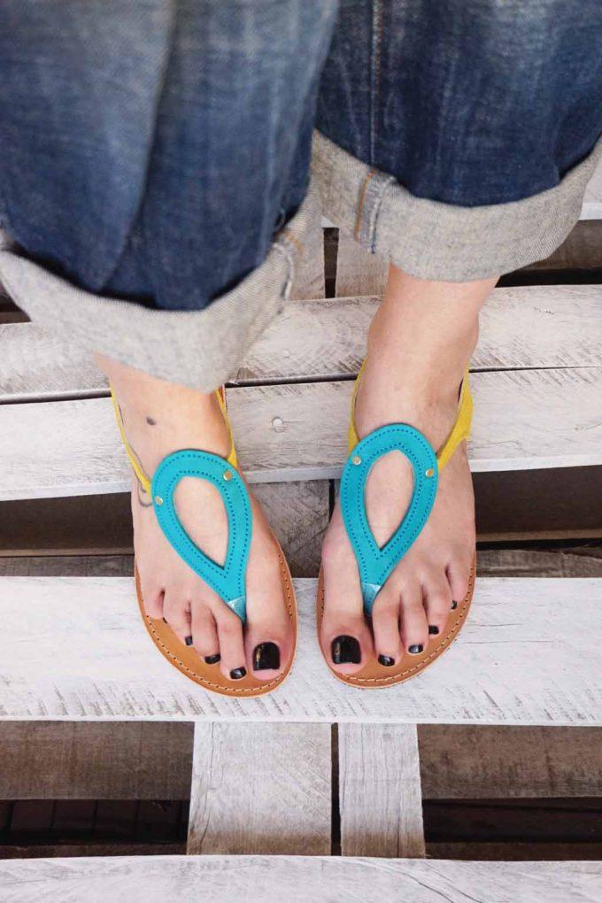 Sandale dama FUNKY COLORS, turcoaz - galben