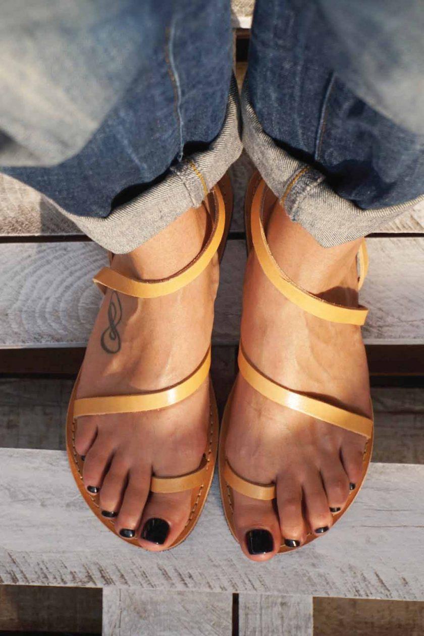Sandale dama piele naturala FUNKY DAY, nude - crem