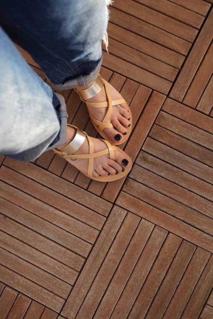 Sandale de dama grecesti piele FUNKY PEOPLE, crem - auriu