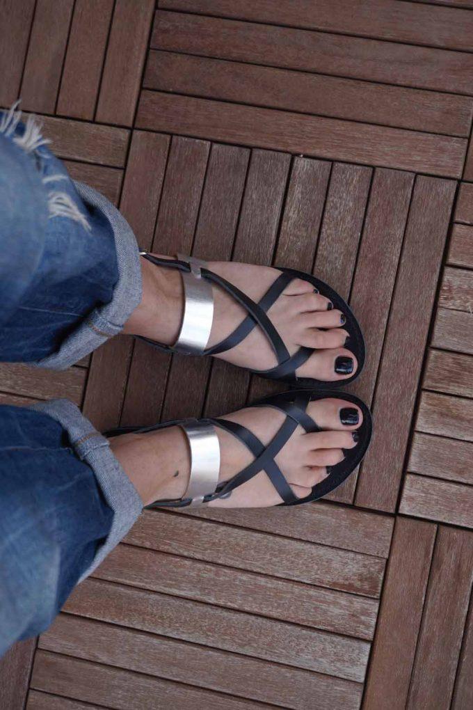 Sandale dama piele naturala FUNKY PEOPLE, negru - argintiu