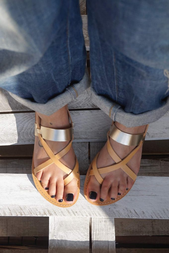 Sandale grecesti FUNKY PEOPLE, crem