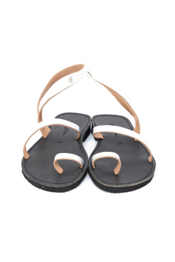 Sandale argintii cu talpa joasa FUNKY DAY piele naturala