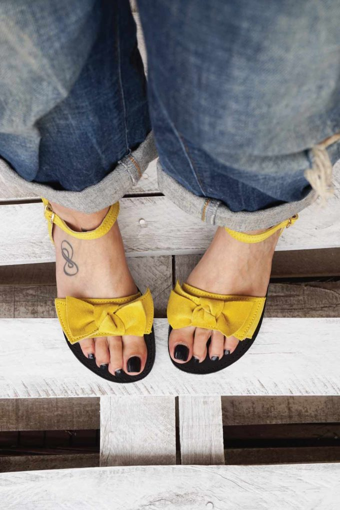Sandale din piele naturala cu funda FUNKY LOVE, galben | FUNKYFAIN