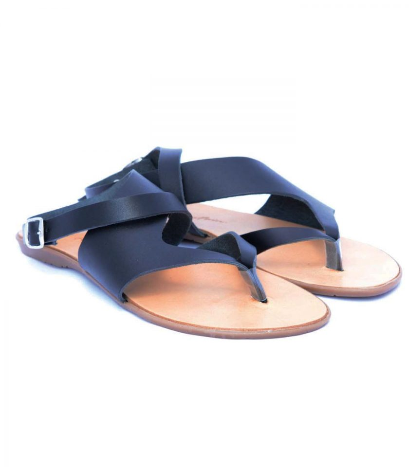 Sandale grecesti cu talpa joasa FUNKY BLACK, negru