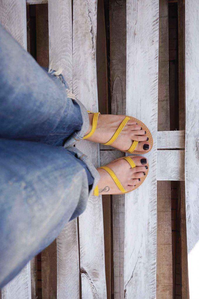 Sandale dama piele naturala FUNKY DAY, galben