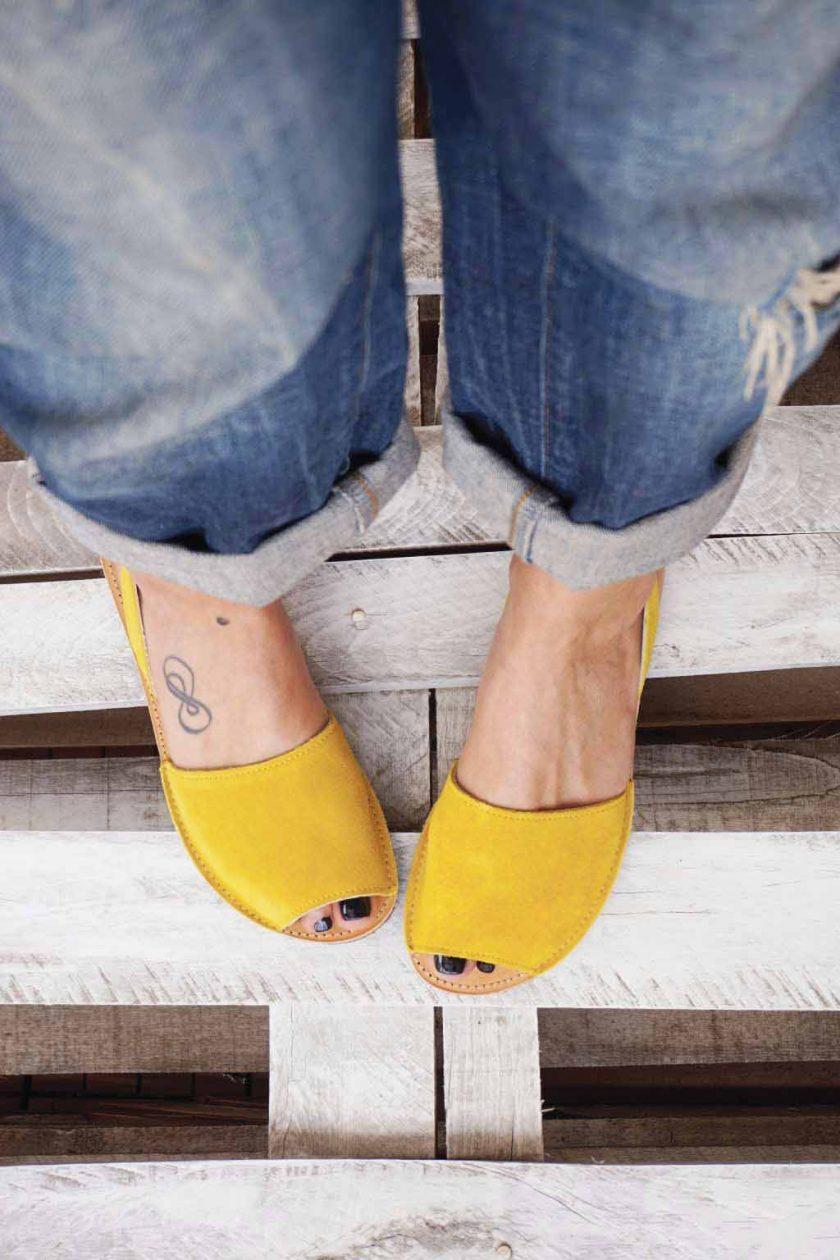Sandale dama piele naturala FUNKY Q galben | FUNKYFAIN
