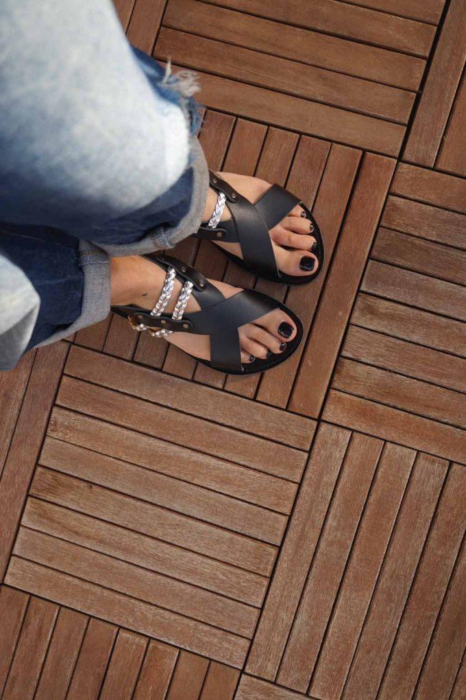 Sandale dama piele naturala FUNKY STYLE, negru - argintiu