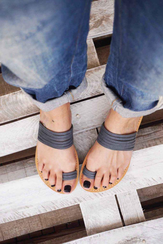 Sandale dama talpa joasa FUNKY MOON, gri | FUNKYFAIN