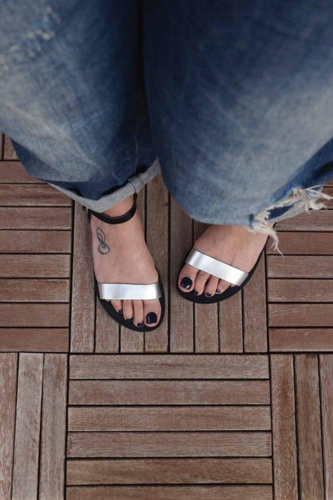 Sandale grecesti argintii piele naturala FUNKY CASUAL