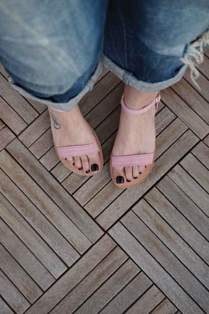 Sandale cu talpa joasa FUNKY CASUAL, nude - roz