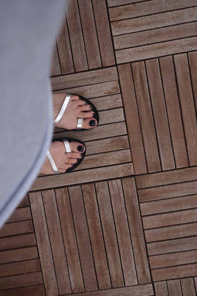 Sandale argintii cu talpa joasa FUNKY DAY