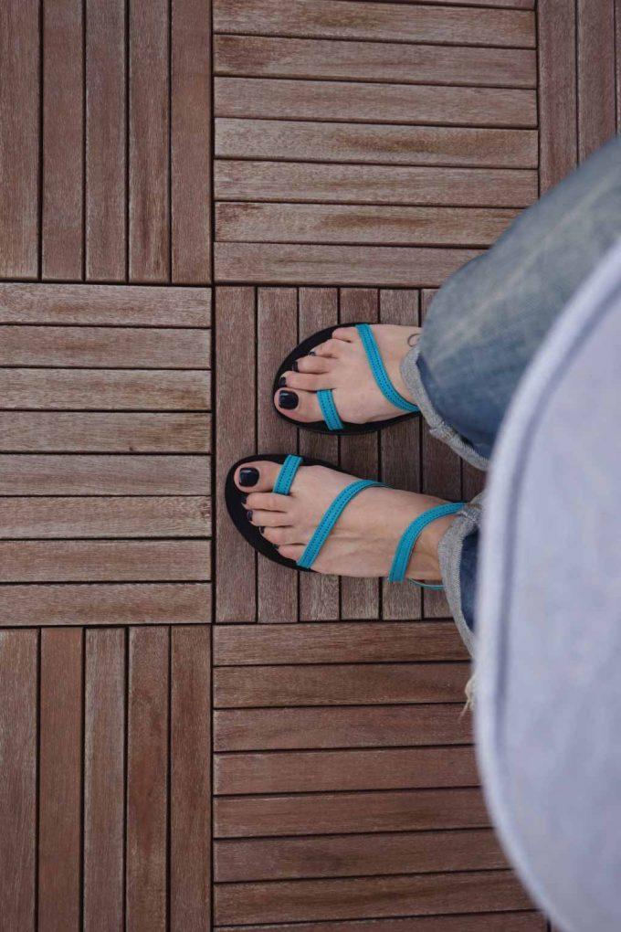 Sandale dama talpa joasa FUNKY DAY, turcoaz