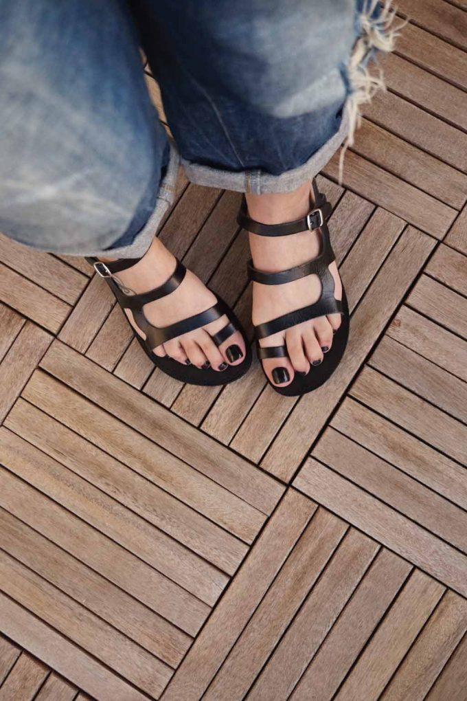 Sandale cu talpa joasa FUNKY FRIDAY, negru | FUNKYFAIN