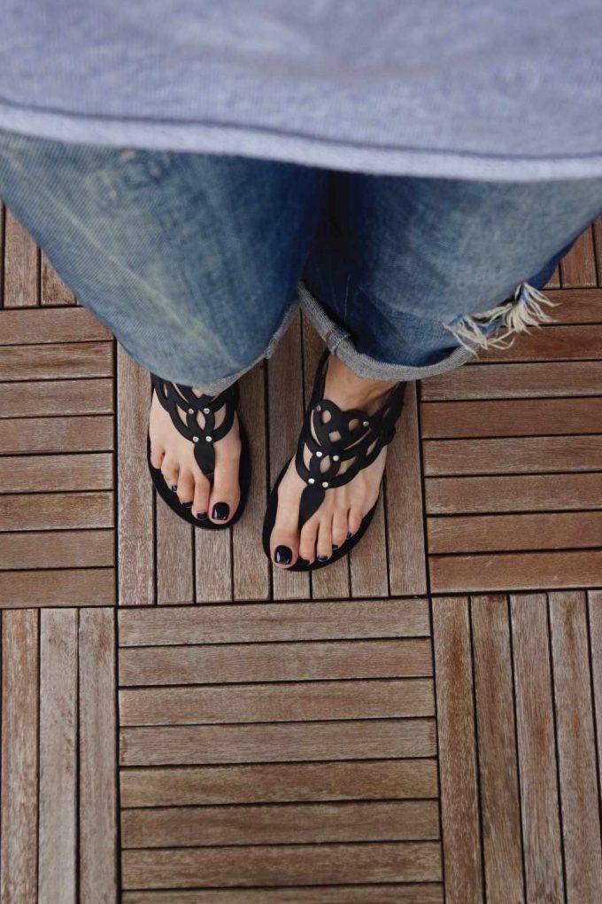 Sandale grecesti din piele naturala FUNKY GREECE, negru