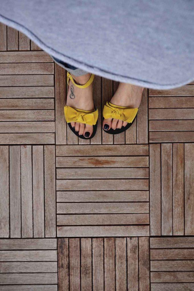 Sandale de dama cu talpa joasa FUNKY LOVE, galben