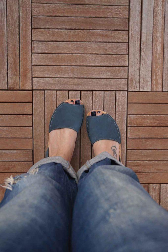Sandale dama piele naturala FUNKY Q, bleumarin | FUNKYFAIN