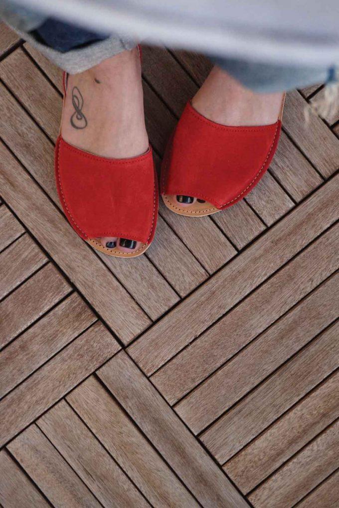 Sandale dama piele naturala FUNKY Q, rosu | FUNKYFAIN