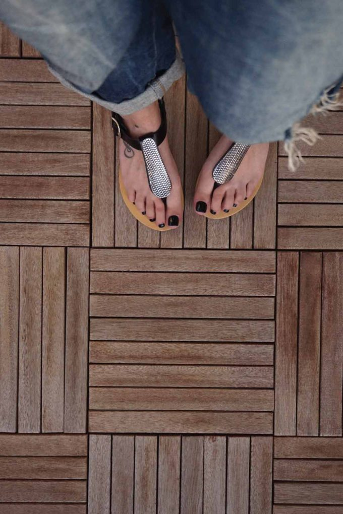 Sandale negre cu accesoriu argintiu FUNKY SILVER