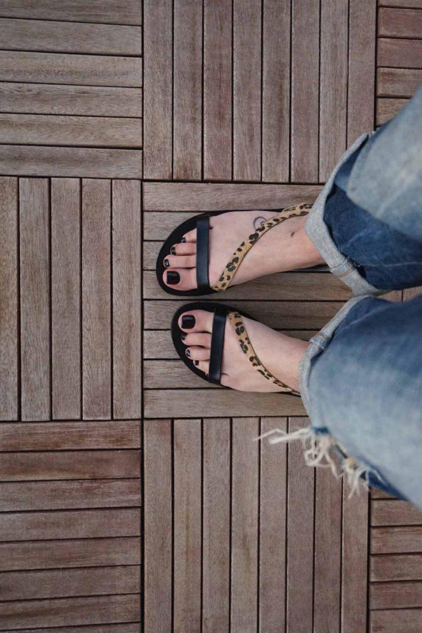 Sandale cu talpa joasa FUNKY STRIPES, animal print