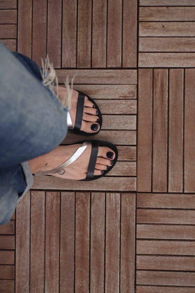 Sandale cu talpa joasa FUNKY STRIPES, negru - argintiu