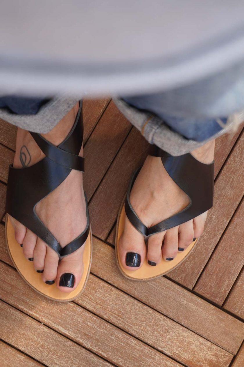 Sandale grecesti din piele naturala FUNKY BLACK, negru