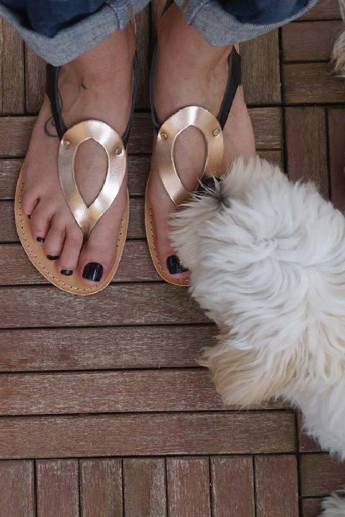 Sandale piele naturala FUNKY COLORS, negru - bronz