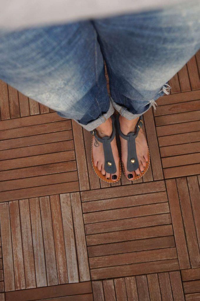 Sandale anatomice din piele naturala FUNKY COMFY, gri