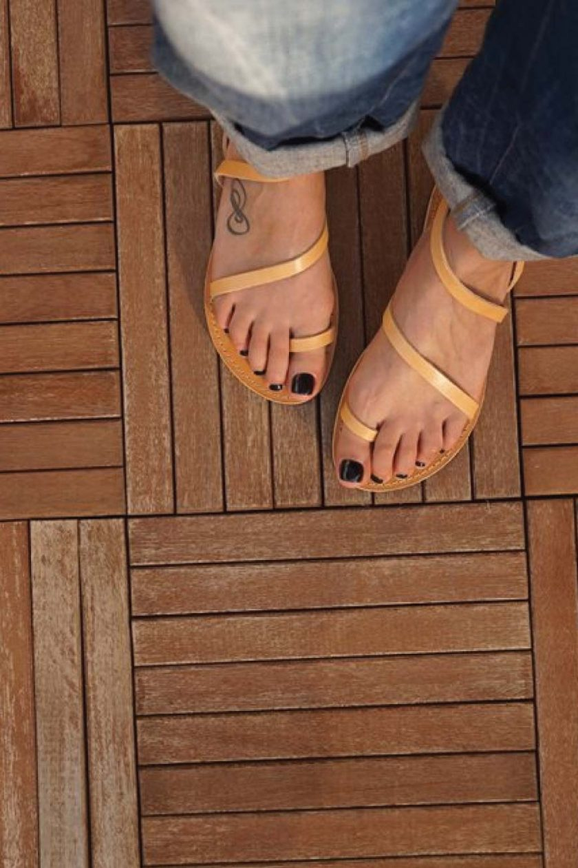 Sandale nude - crem din piele naturala FUNKY DAY