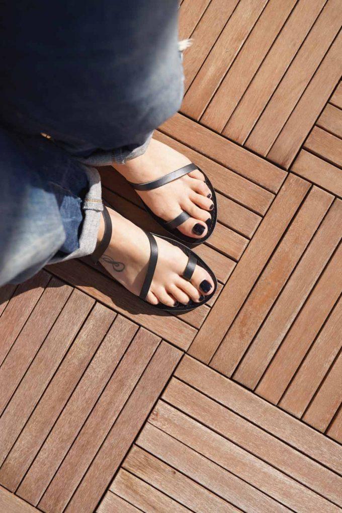 Sandale negre din piele naturala FUNKY DAY