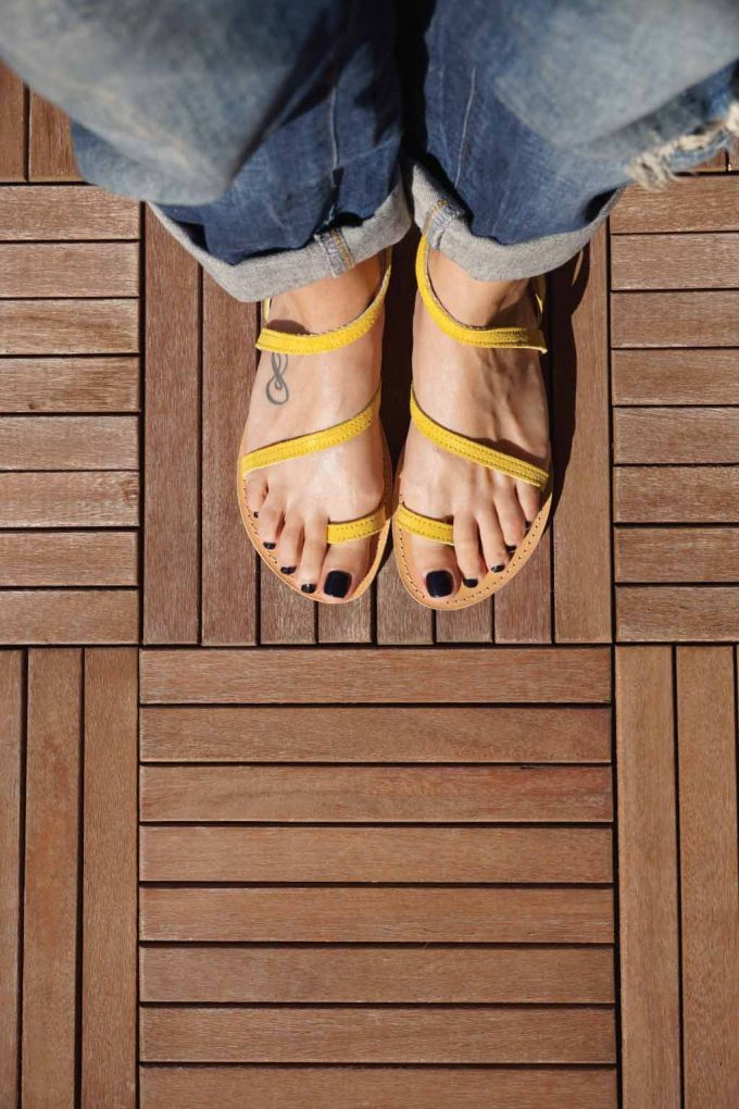 Sandale galbene din piele naturala FUNKY DAY