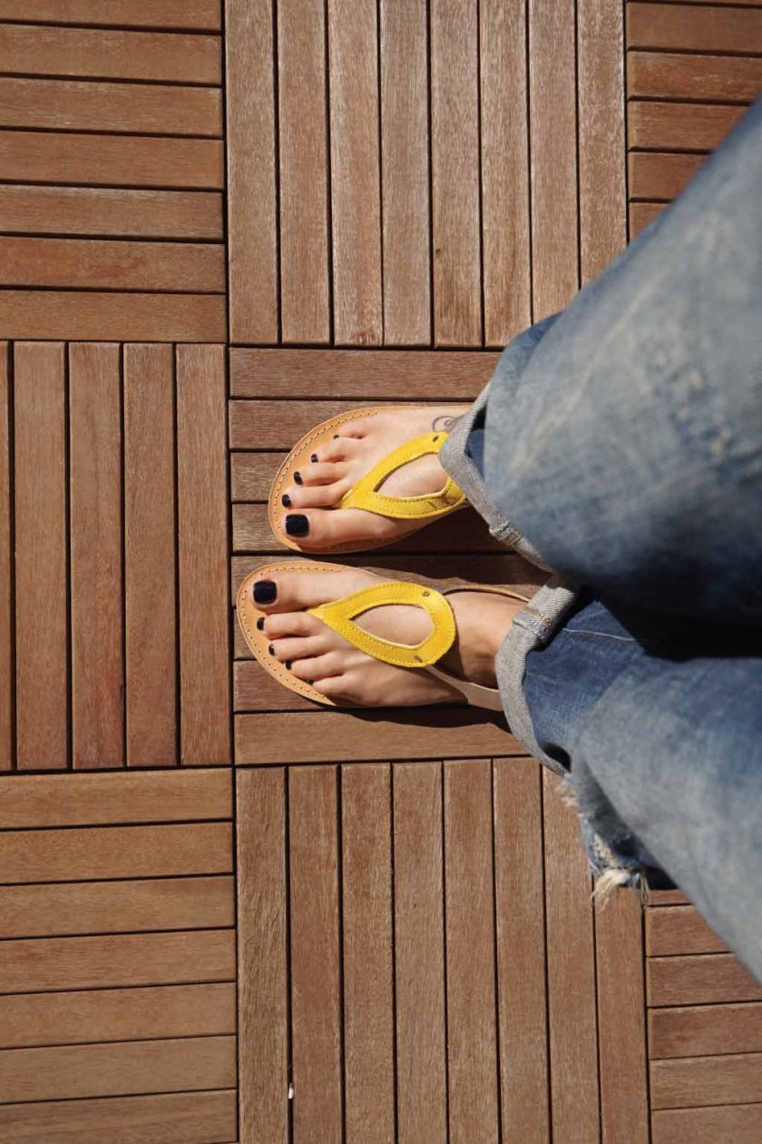 Sandale dama piele naturala FUNKY COLORS, galben - argintiu
