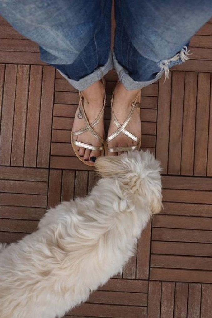 Sandale aurii cu talpa joasa FUNKY GIRL | FUNKYFAIN