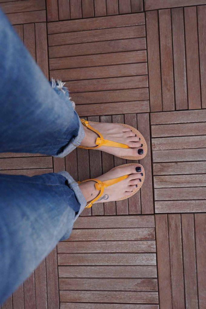 Sandale casual minimaliste FUNKY ALLNUDE, portocaliu