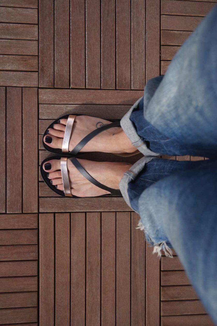Sandale cu talpa joasa FUNKY STRIPES, negru - bronz