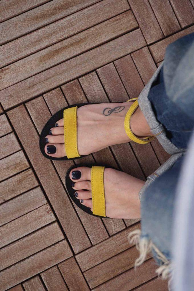 Sandale dama talpa joasa FUNKY CASUAL, galben