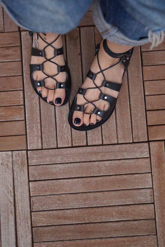 Sandale gladiator piele naturala FUNKYFAIN, negru