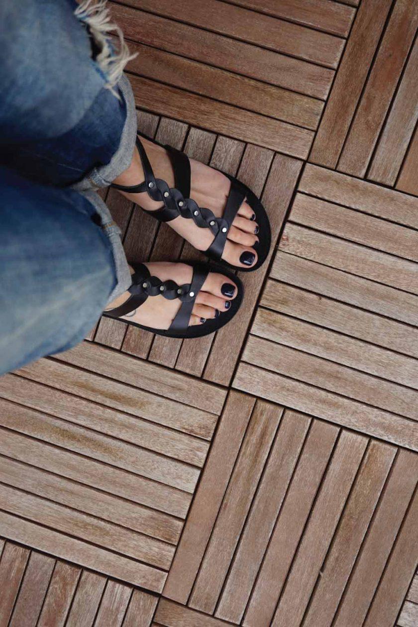 Sandale grecesti cu talpa joasa FUNKY MUSE, negru