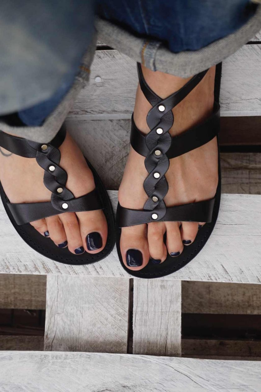 Sandale de dama din piele naturala FUNKY MUSE, negru