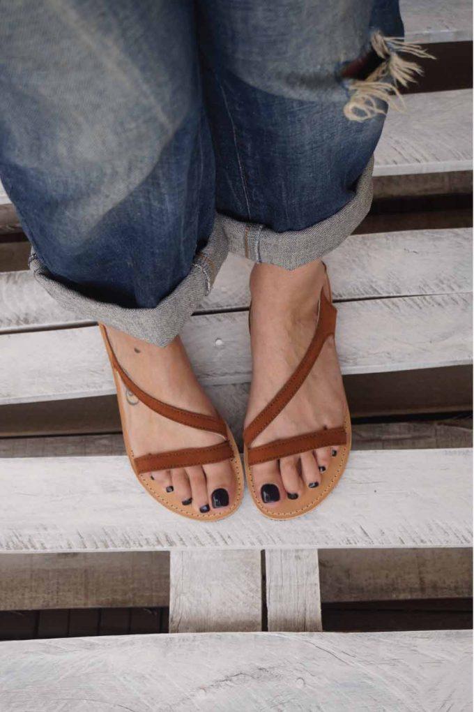 Sandale grecesti FUNKY STRIPES, maro