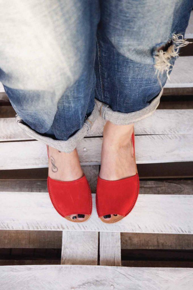 Sandale grecesti piele naturala FUNKY Q, rosu | FUNKYFAIN
