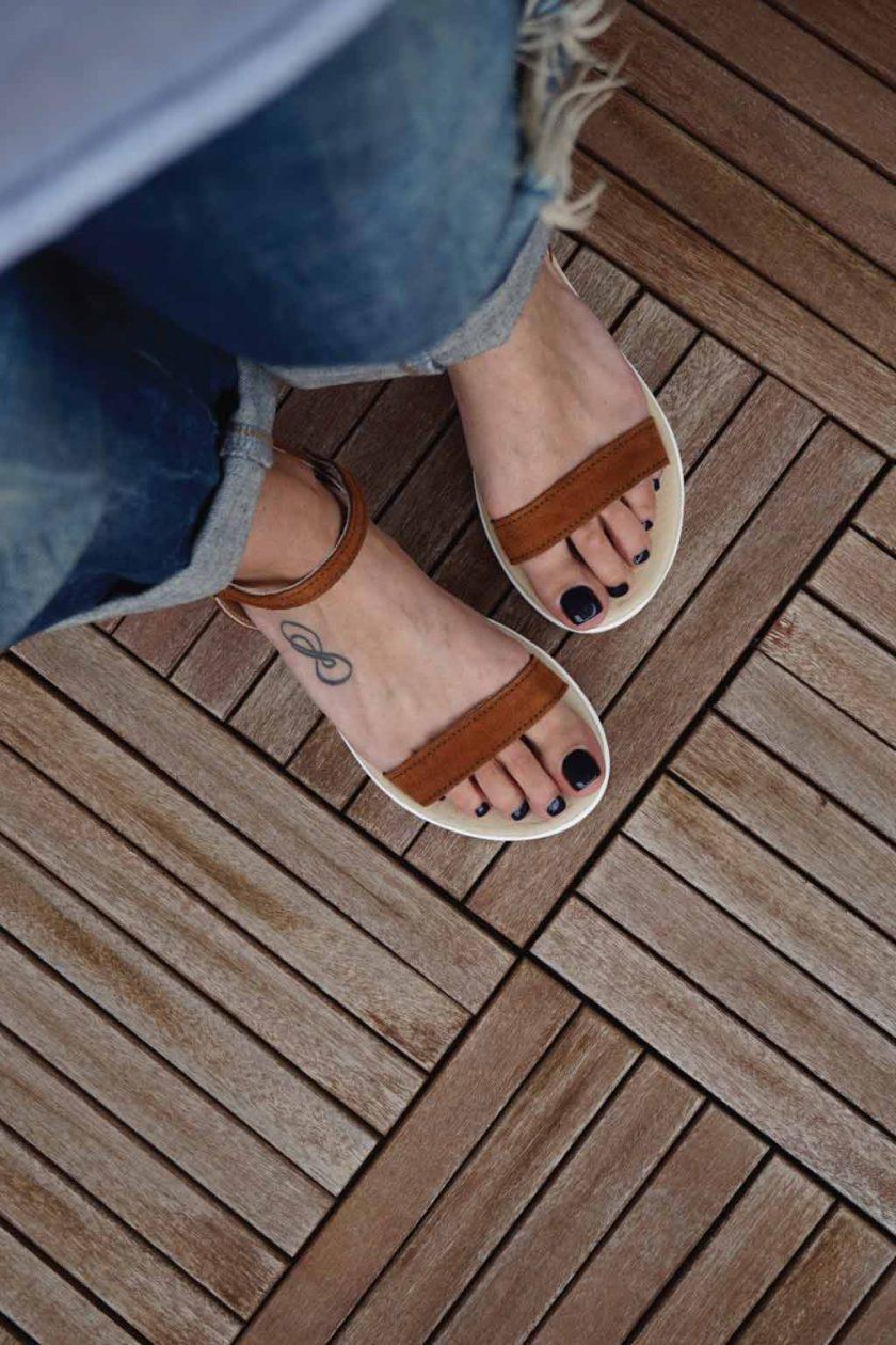 Sandale maro cu platforma alba FUNKY PLATFORM