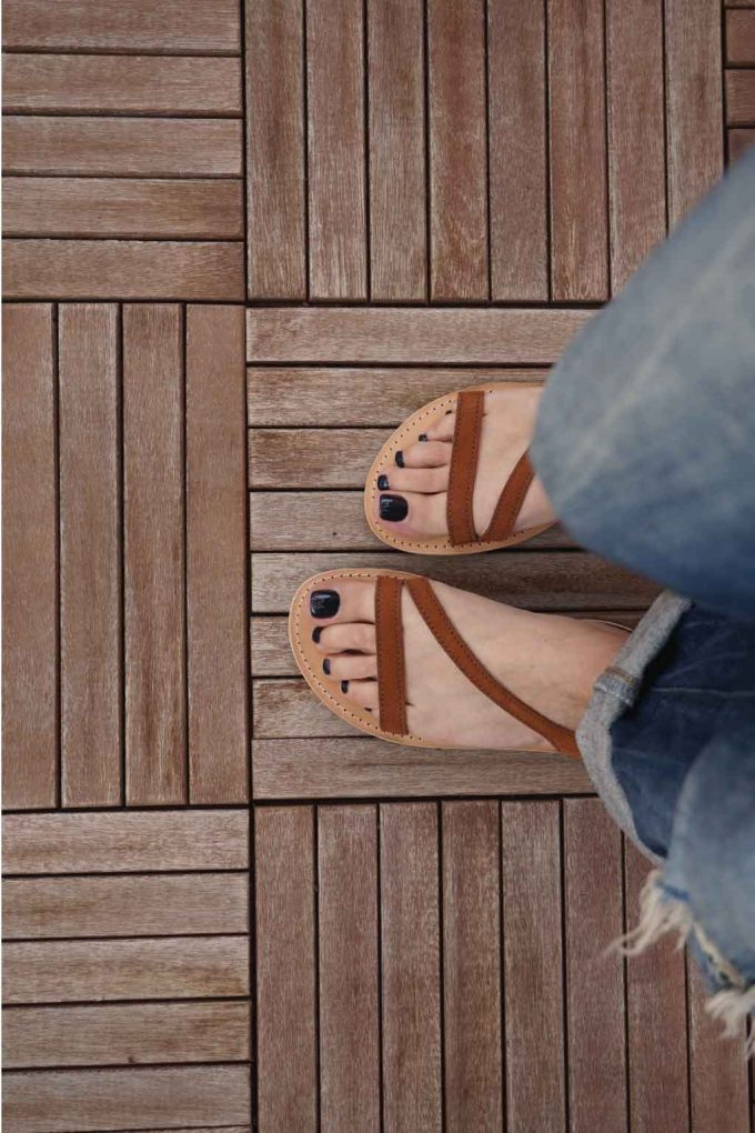 Sandale maro piele naturala FUNKY STRIPES | FUNKYFAIN