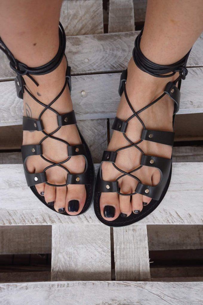 Sandale negre FUNKY GLADIATOR