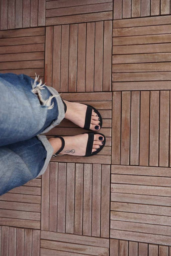 Sandale negre grecesti piele naturala FUNKY CASUAL