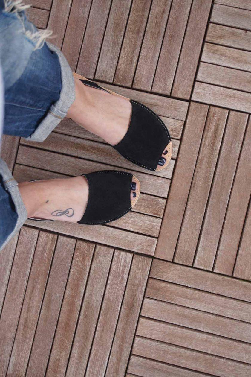 Sandale de dama din piele naturala FUNKY Q, negru